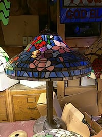 blue, pink and red stained glass table lamp Philadelphia, 19147