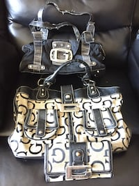 black and white leather tote bag Barrie, L4M 7P6
