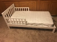 white wooden bed frame with white mattress Pflugerville, 78660