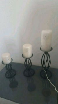 two white and black candle holders Calgary, T3J 0B1