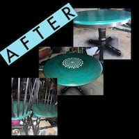 Hand Painted Round Wood Dining Room Table & 3 chairs