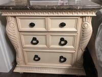 White wooden 3-drawer chest with marble top Used as end tables