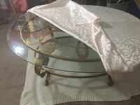 Elegant beveled edge, thick glass, gold muted, iron metal base, expensive oval coffee table Virginia Beach, 23464