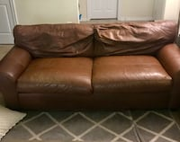 Brown leather 2-seat sofa Raleigh, 27612