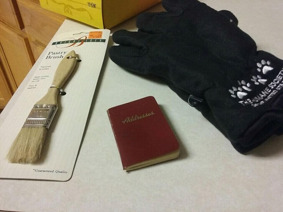 Photo Pastry brush,address book,new never used gloves