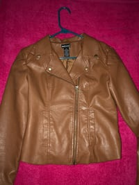 brown leather zip-up jacket Weslaco, 78599