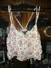 white, green, and pink floral spaghetti strap tank top Hamilton, L8N 2B2