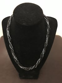 Twisted Black & Silver Bead Necklace