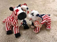 Lefty and Righty Patriotic Beanie Babies 2000 Plushie Stuffed Animals Baltimore, 21236