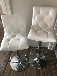 Two White Leather Bar Stools-ADJUSTABLE HEIGHT San Diego, 92101