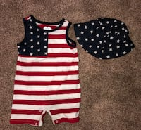 Red white and blue romper with hat, 12 months  Erie, 16511