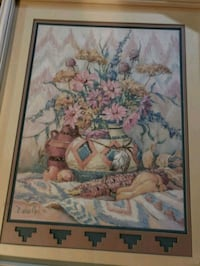 brown wooden framed painting of flowers Fullerton, 92832