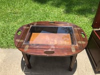 Solid wood small table w removable glass top  Pearland, 77584
