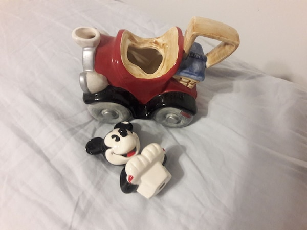 Mickey Mouse with car ceramic figurine