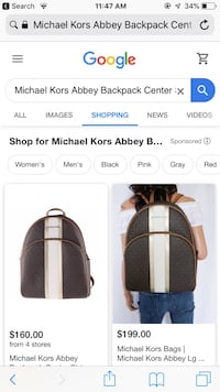 MK Abbey Backpack Center Stripe in PVC Signature Brown/Pale Gold  Bladensburg, 20710