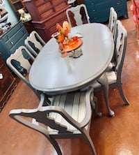French Gray Solid Wood dining table and 6 chairs Derwood