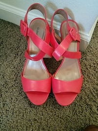 pair of red leather open-toe ankle strap heels Jacksonville, 28544