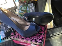 Blue satin platform stilettos Goffstown