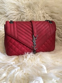 Quilted red yves saint laurent leather shoulder bag