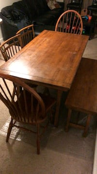 rectangular brown wooden table with four chairs dining set Westfield, 46074