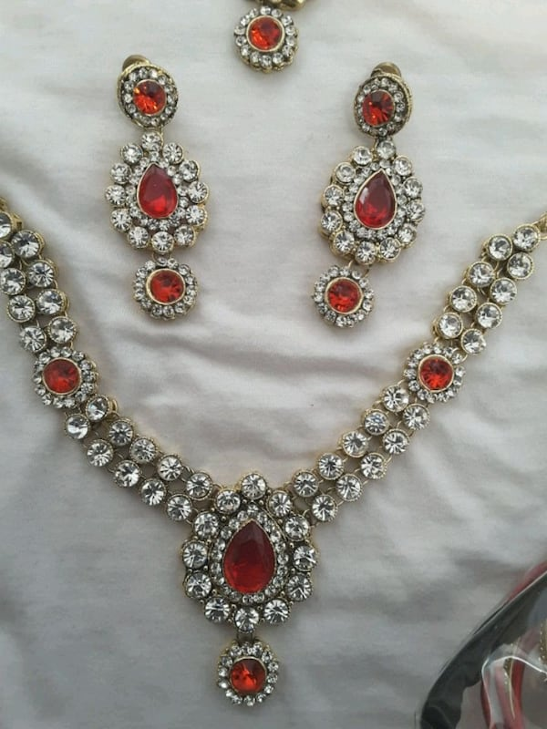 red and gold Indian  jewelry set 060c80bc-592d-4eb0-8c55-acccaf0bad60
