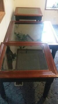 Beautiful solid wood and glasstop curio