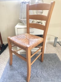 4 Beautiful Natural Oak Wood Rush chairs (Made in Italy) Vienna, 22180