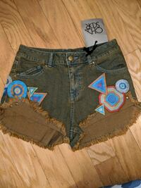 Chaser Embroidered jean shorts