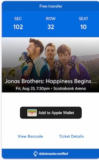 Two Jonas brothers tickets for sale