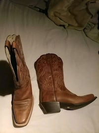 pair of brown leather cowboy boots Houston, 77076