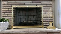 Solid Brass Fire Place Set & Screen Grimsby, L3M