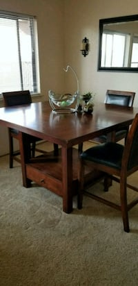 square brown solid wood table w/ 3 chairs  Marina, 93933
