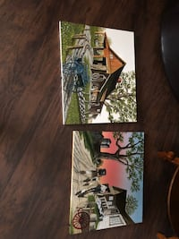 two brown house paintings