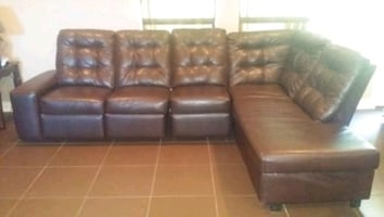 BROWN FAUX LEATHER COUCH SECTIONAL