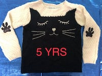 Children's Knit Sweater Kitty Cat Leather Paw Patch on Sleeves 5 years