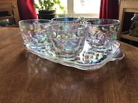Vintage carnival glass clear iridescent snack tray and 4 cups Edmonton, T6R 2R5