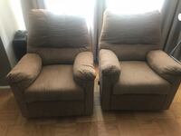 Two gray fabric sofa chairs New York