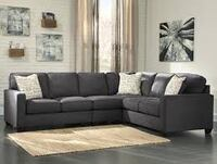gray fabric sectional sofa with throw pillows Seattle, 98119