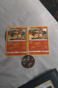 Charizard hallow and normal card plus coin