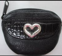 Brighton Leather Black Coin Purse with Silver Heart  Like New.