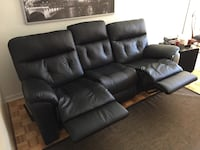 Black leather sofa, 3 seater, reclining chairs Montreal