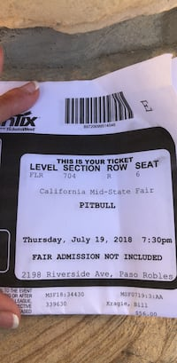 Pitbull concert tickets for tonight at the mid state fair!!! Paso Robles, 93446