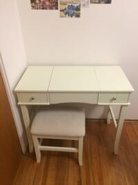 white desk with mirror and stool. Calgary, T2E 6H7