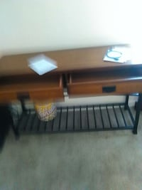 brown wooden end table with 2-drawer console