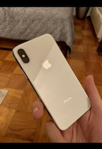 silver iPhone X with black case Vancouver