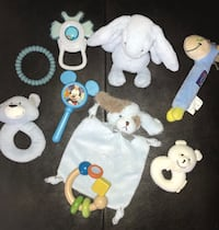 Baby boy rattle, teething & toy 9pc set. Includes orajel vibrating teether. Pu at Kipling and highway 7 Woodbridge  Vaughan, L4L 1Z2