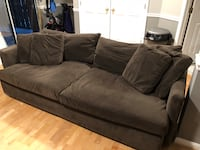 "Brown velvet 96"" sofa, crate & Barrel Alexandria, 22310"