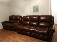 brown leather 3-seat recliner sofa Dallas, 75227