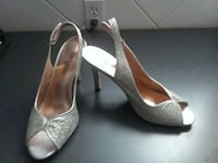 pair of silver-colored peep-toe pumps Mississauga, L5V 1J7