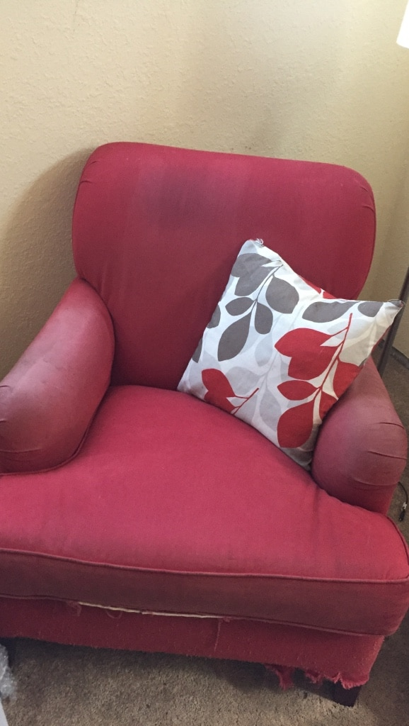 Red Leather Sofa With Throw Pillows : letgo - red leather sofa chair w... in Rhododendron Park, WA